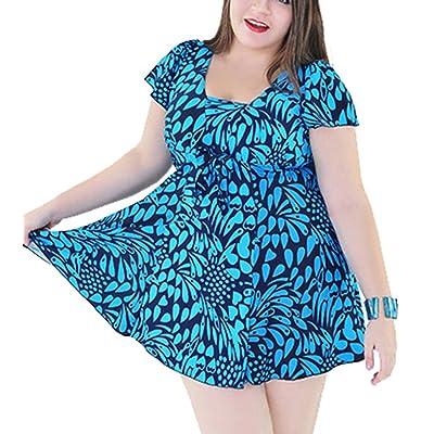 GSHappyGo Women's Plus size Swimdress & Boyshorts Backless Swimsuit