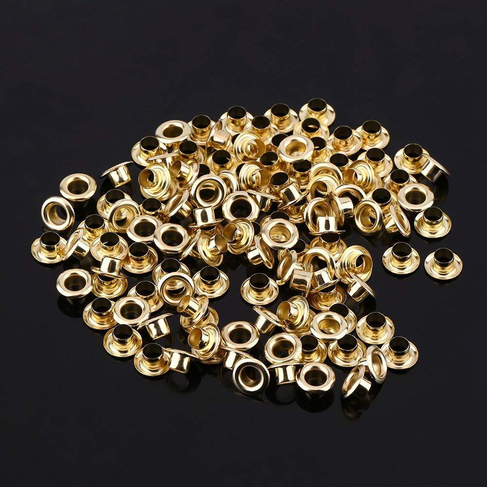 JOJOJOZZ color dorado y plateado 100 remaches huecos de 5 mm con ojales de metal y ojales
