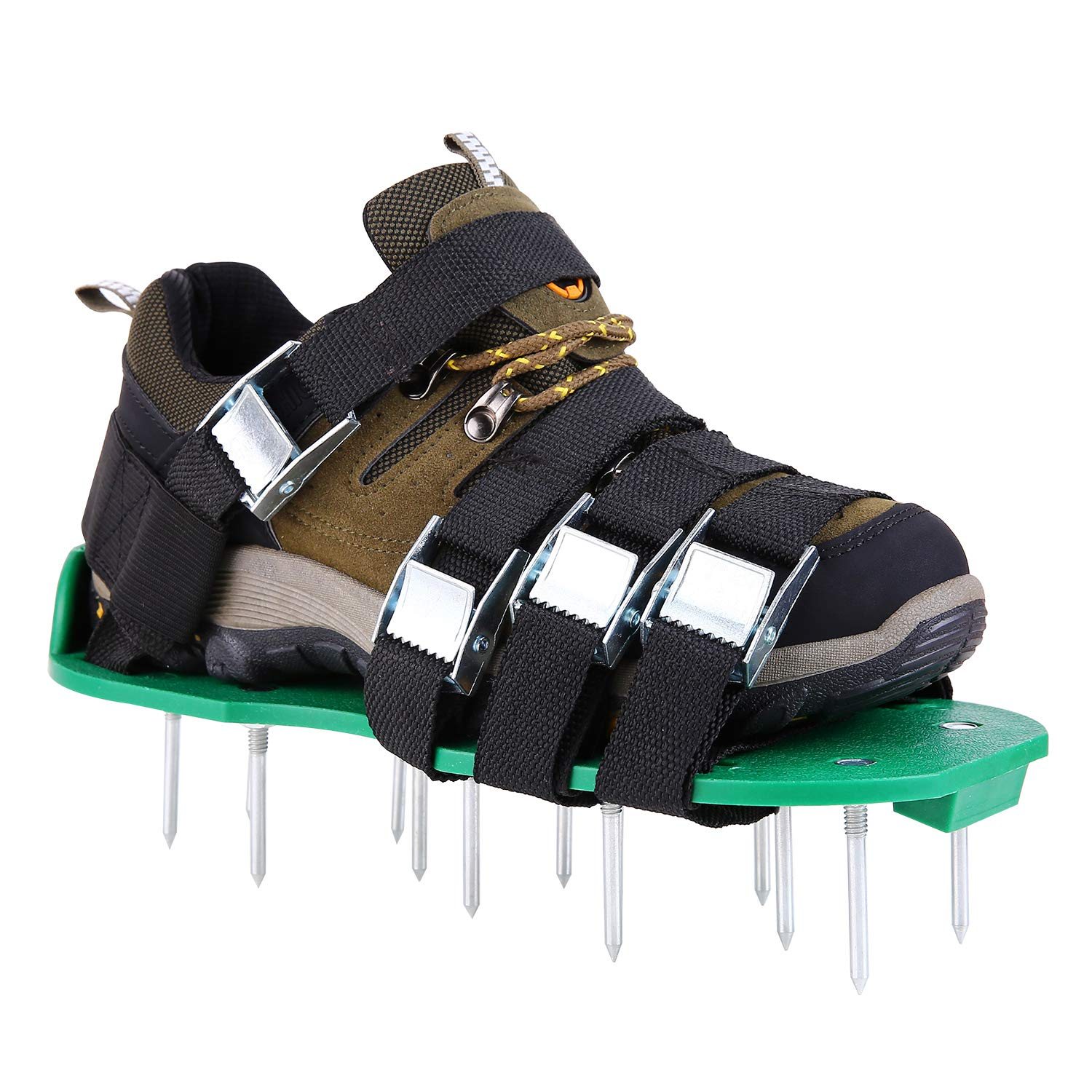 Ohuhu Lawn Aerator Shoes, 4 Adjustable Straps Aluminium Alloy Buckles & 1 Heel Elastic Band, Heavy Duty Spiked Sandals for Aerating Your Lawn Or Yard