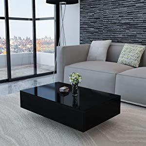 "Canditree Modern Rectangular Coffee Table, High Gloss Black, Coffee Table for Living Room, Office 33.5"" x 21.7"" x 12.2"""