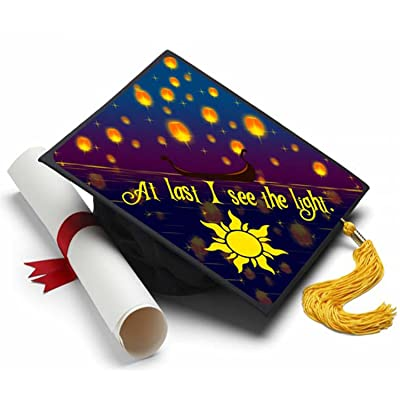 Tassel Toppers at Last I See The Light Grad Cap Decorated Grad Caps - Tangled: Home & Kitchen