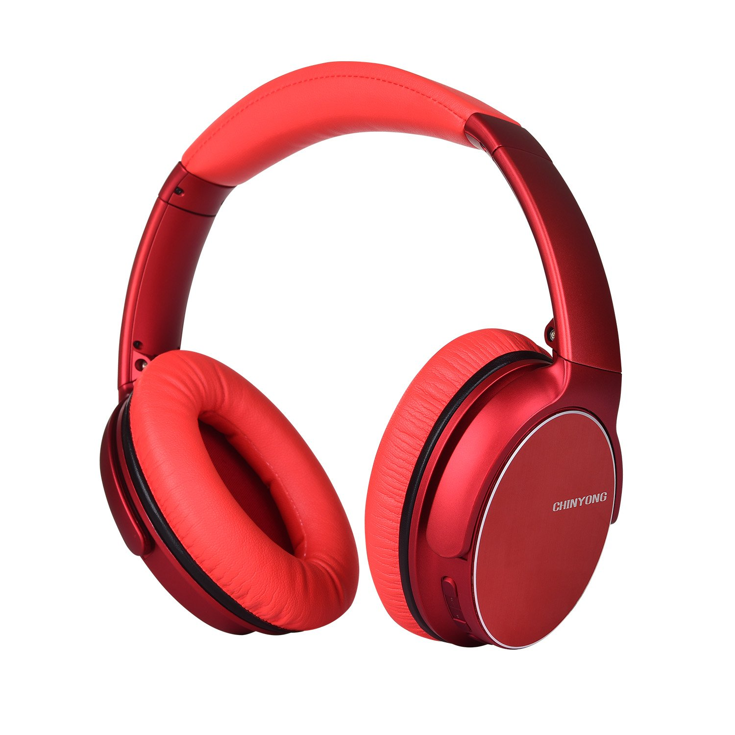 Wireless Bluetooth Headphone,Headset with Microphone,Over-Ear Earphone,Deep Bass Stereo-Red
