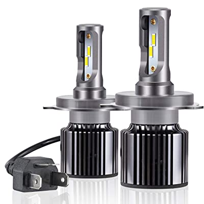 H4 HB2 LED Headlight Bulbs All-in-One Conversion Kit [MINI SIZE], A-1ux LED High/Low Beam Bulbs Extremely Bright 10800LM- 6000K Cool White: Automotive