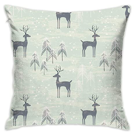 Groovy Amazon Com Eante Throw Pillow Cover Deer In Winter Pine Inzonedesignstudio Interior Chair Design Inzonedesignstudiocom