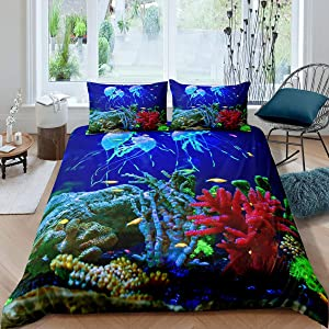 Blue Jellyfish Bedding Set for Teens Girls,Sealife Underwater World Comforter Cover,Ocean Fish Duvet Cover,Under Sea Colorful Coral Reef Quilt Cover Nautical Sea Animal Bedroom Decor Full Size