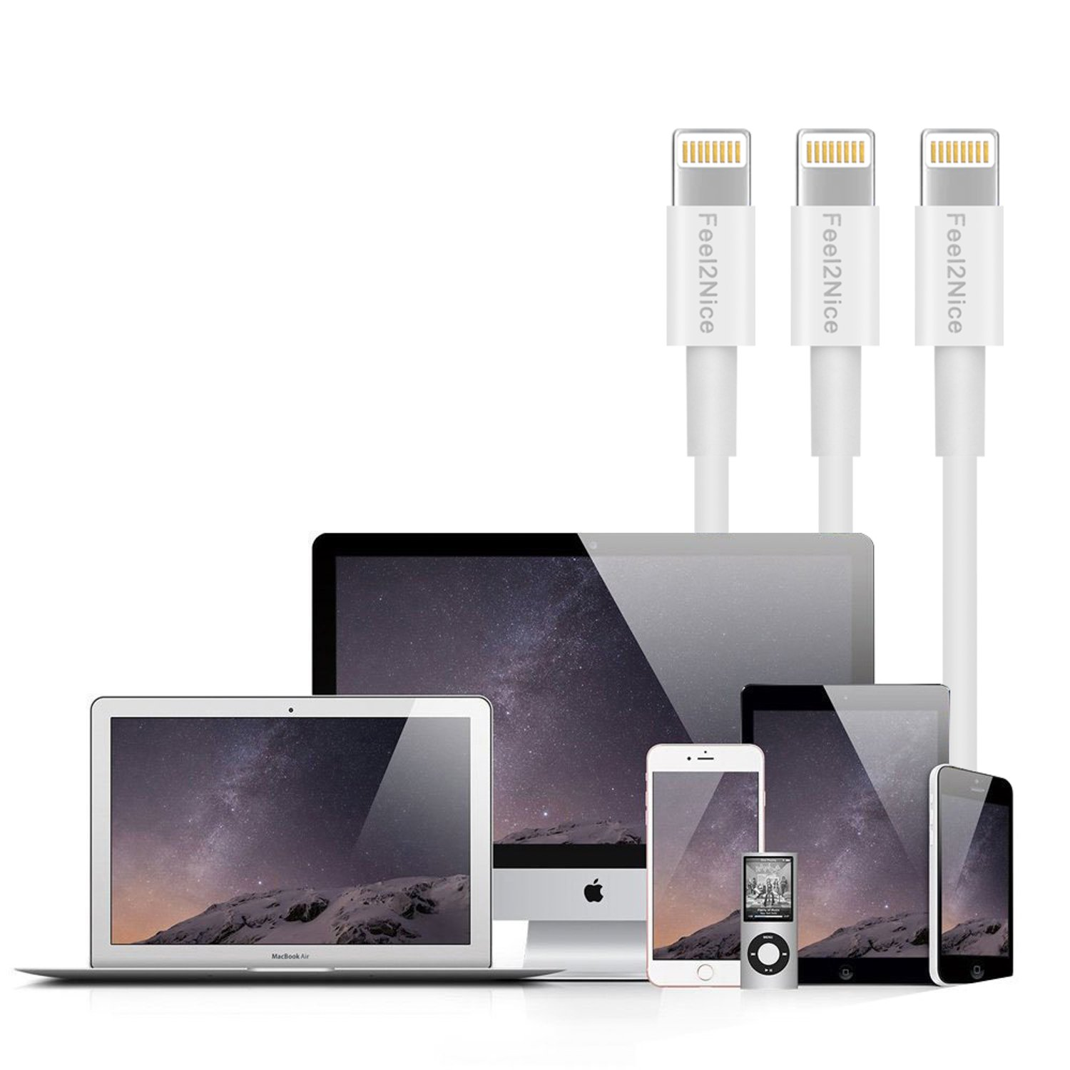 Feel2Nice Short Lightning Cable 10 pack 7-Inch Iphone Cord Data Sync USB Portable fast charge for iPhone X 8/8 Plus/7/7 plus/6s/6s plus/6/6 plus 5/5s/5c/Multi-Port Charging Station,White by Feel2Nice (Image #8)