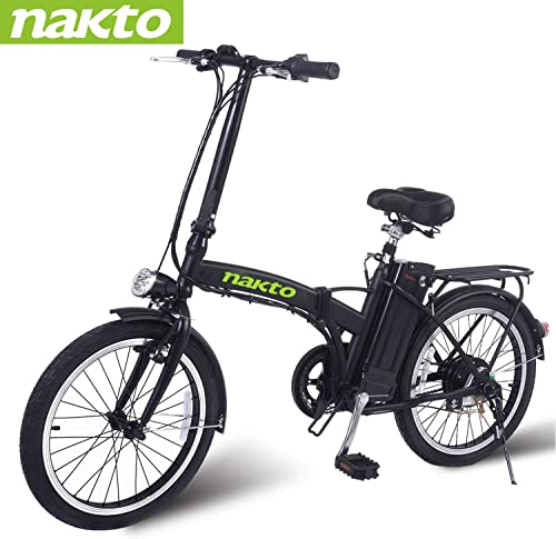 NAKTO Electric Bike City Electric Bikes for Adults 6 Speed Ebike 220W 250W 300W 500W with 36V10AH 48V12AH Removable Lithium Battery and 1 Year Warranty, 20 22 26 Electric Bicycle-2019 Newest