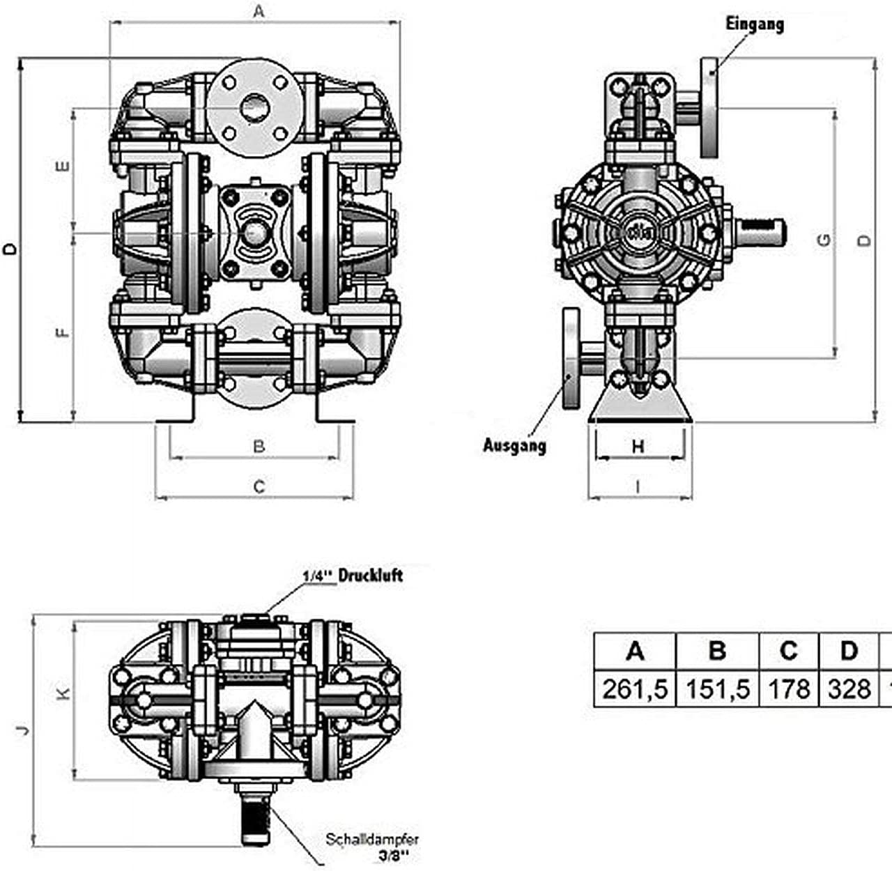 Fasspumpe, HP05 Druckluft Doppelmembranpumpe 55liter//min Doppel-Membranpumpe Druckluftmembranpumpe