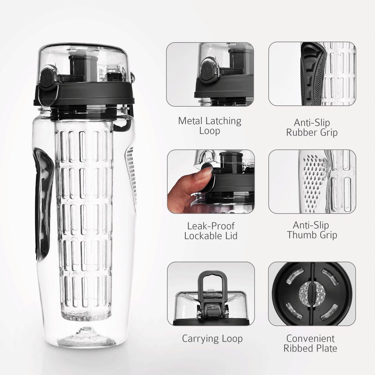 Trinkflaschen mit Verschluss /& Tragehenkel f/¨/¹r Fruchtsaft Kunststoff Trinkflasche Sport Flasche 1L Sportflasche Auslaufsicher OMORC Wasserflasche, BPA-frei Tritan