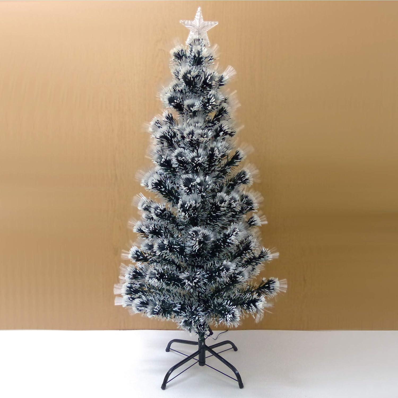 Starlet24® Weihnachtsbaum mit LED Glasfaser Künstlicher Tannenbaum Christbaum Weiss 120cm
