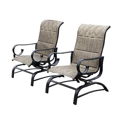 Fine Lokatse Home Outdoor Patio Glider Chair Swing Furniture Seating Rocking Glider Chairs Set Of 2 Grey Machost Co Dining Chair Design Ideas Machostcouk