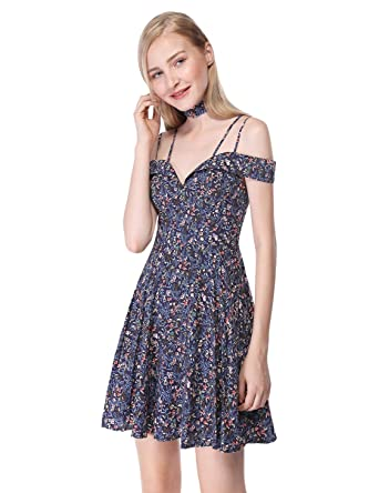 97c1838722 Alisa Pan Womens Short Off Shoulder A-Line Floral Print Summer Dress 4 US  Navy