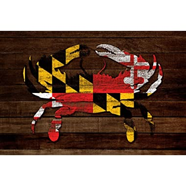 Maryland - Dark Rustic State Flag - Crab - Image Only (16x24 Giclee Gallery Print, Wall Decor Travel Poster)