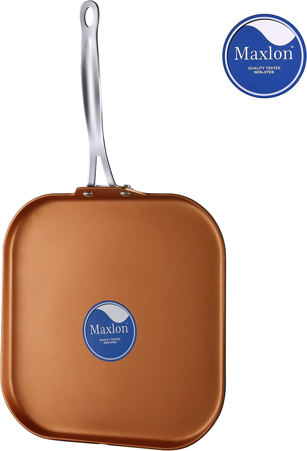 Cooksmark Copper Pan 11-Inch Nonstick Copper Ceramic Griddle Pan with Stainless Steel Handle, Dishwasher Safe Oven Safe PTFE, PFOA Free