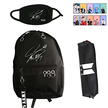 Youyouchard BTS Bangtan Boys Cool Black Stationery Series - BTS Waterproof  Backpack + BTS Signature Mask