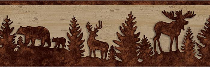 Chesapeake TLL35711B Shawnee Silhouettes Wallpaper Border, Chestnut