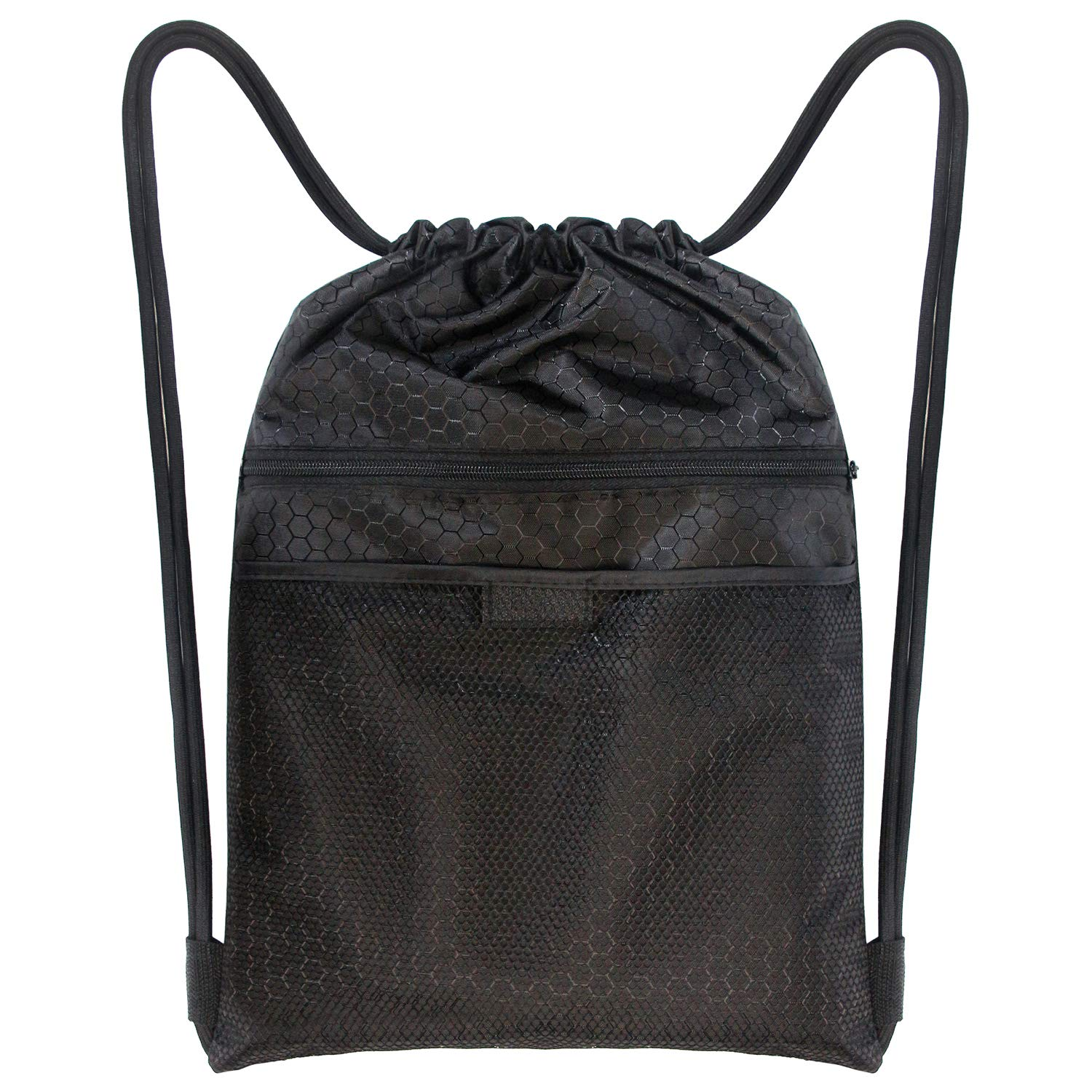 Drawstring Backpack Strings Bags with Zipper and Mesh Pockets Sports Athletic School Travel Gym Lightweight Sackpack for Boys Girls Children Men Women
