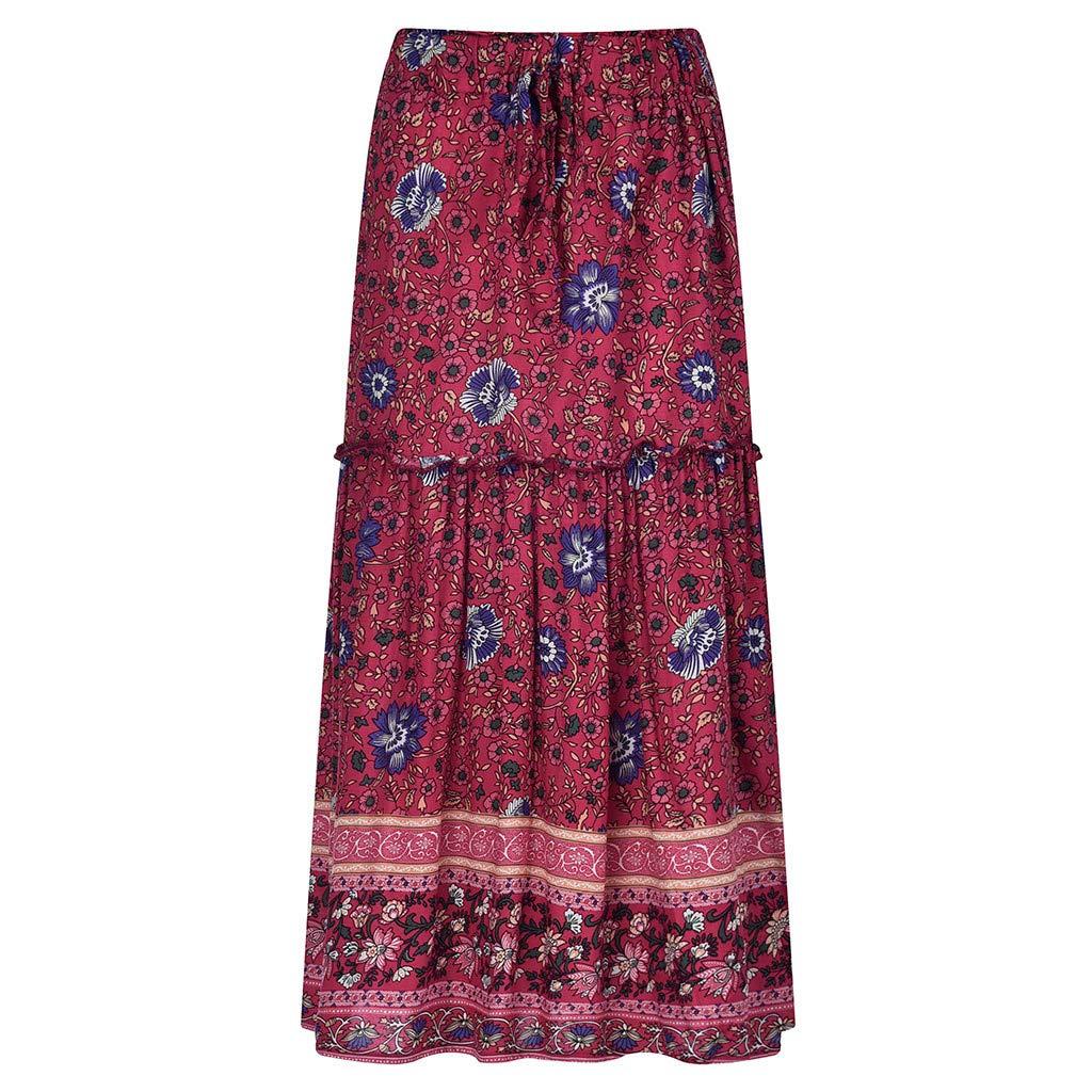 Amazon.com: Falda para mujer, estampado floral bohemio ...