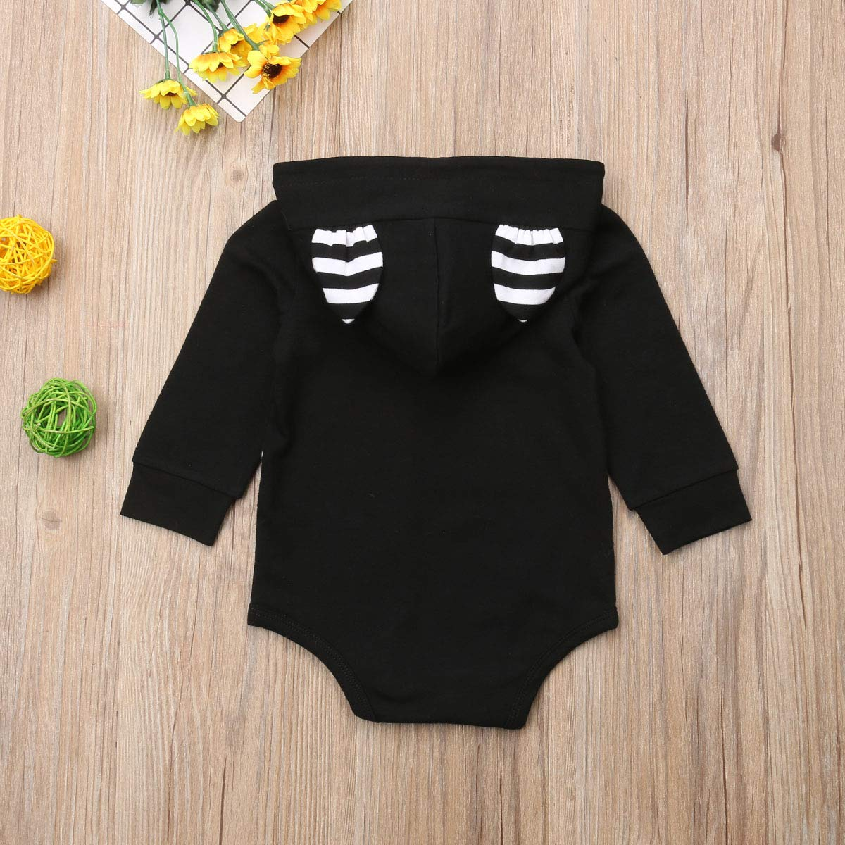 Baby Girl Boy Clothes Top Hoodie Pocket Bodysuit Romper Long Sleeves Outfit Clothing