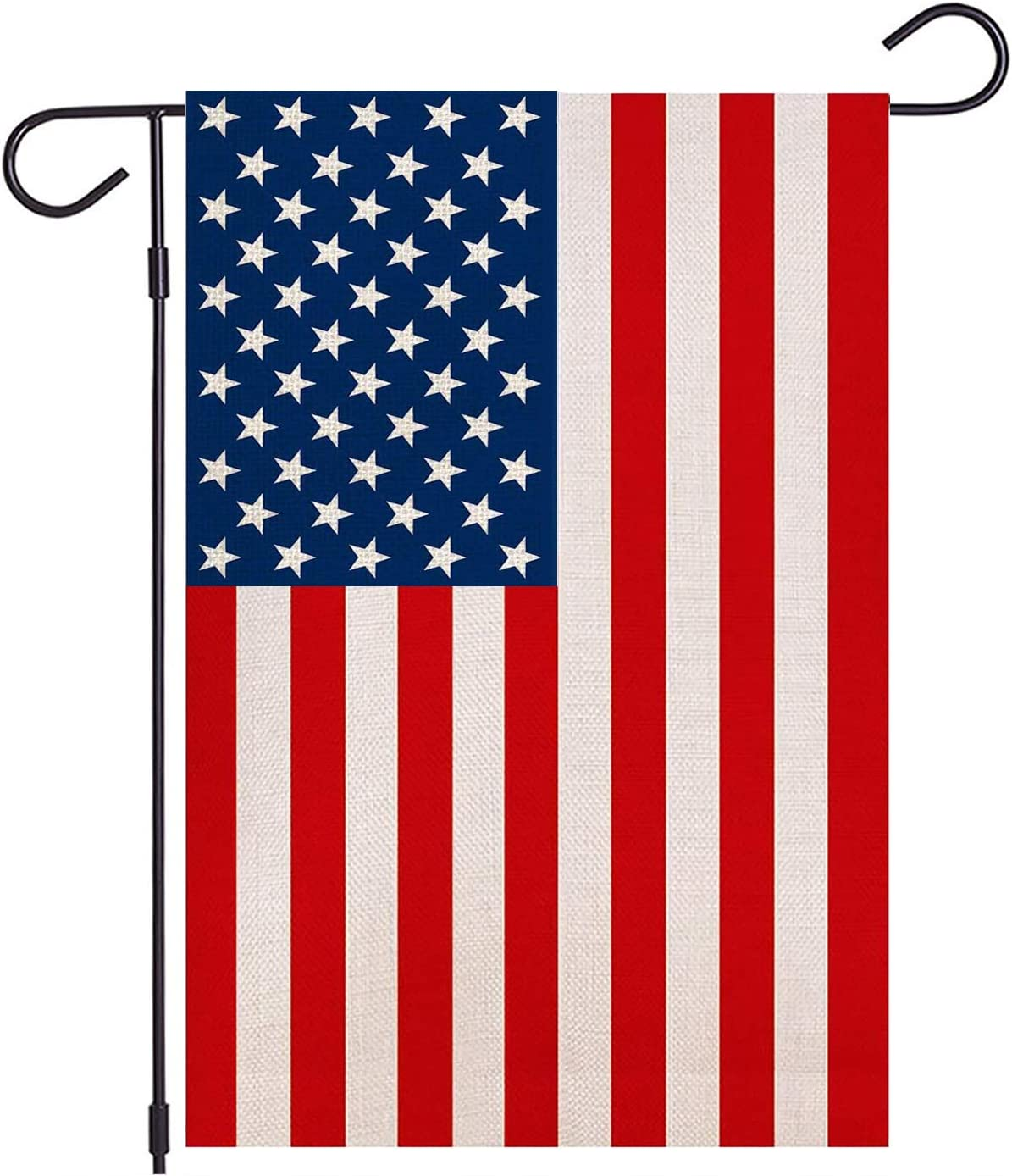 HUGSVIK Burlap American Flags Patriotic Garden Flags 12 x 18, Double-Sided US July 4th Garden Flag, Weatherproof Burlap USA Garden Flag Yard Flag for Independence Day American Election Yard Decor