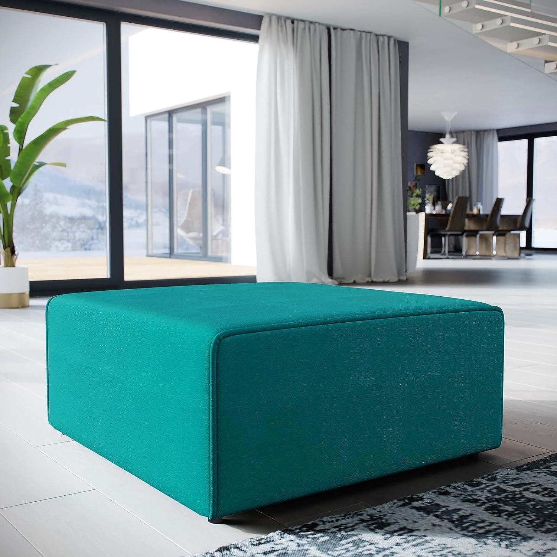 Modway Mingle Polyester Upholstered Generously Padded Ottoman, Blue Fabric