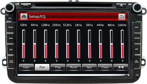8 Pulgadas para Auto estéreo Doble DIN con DVD/Navegación GPS/RDS/Bluetooth/Control de Rueda/Ajuste para V W/Jetta/Passat/Golf Auto Radio en el Tablero DVD: Amazon.es: Electrónica
