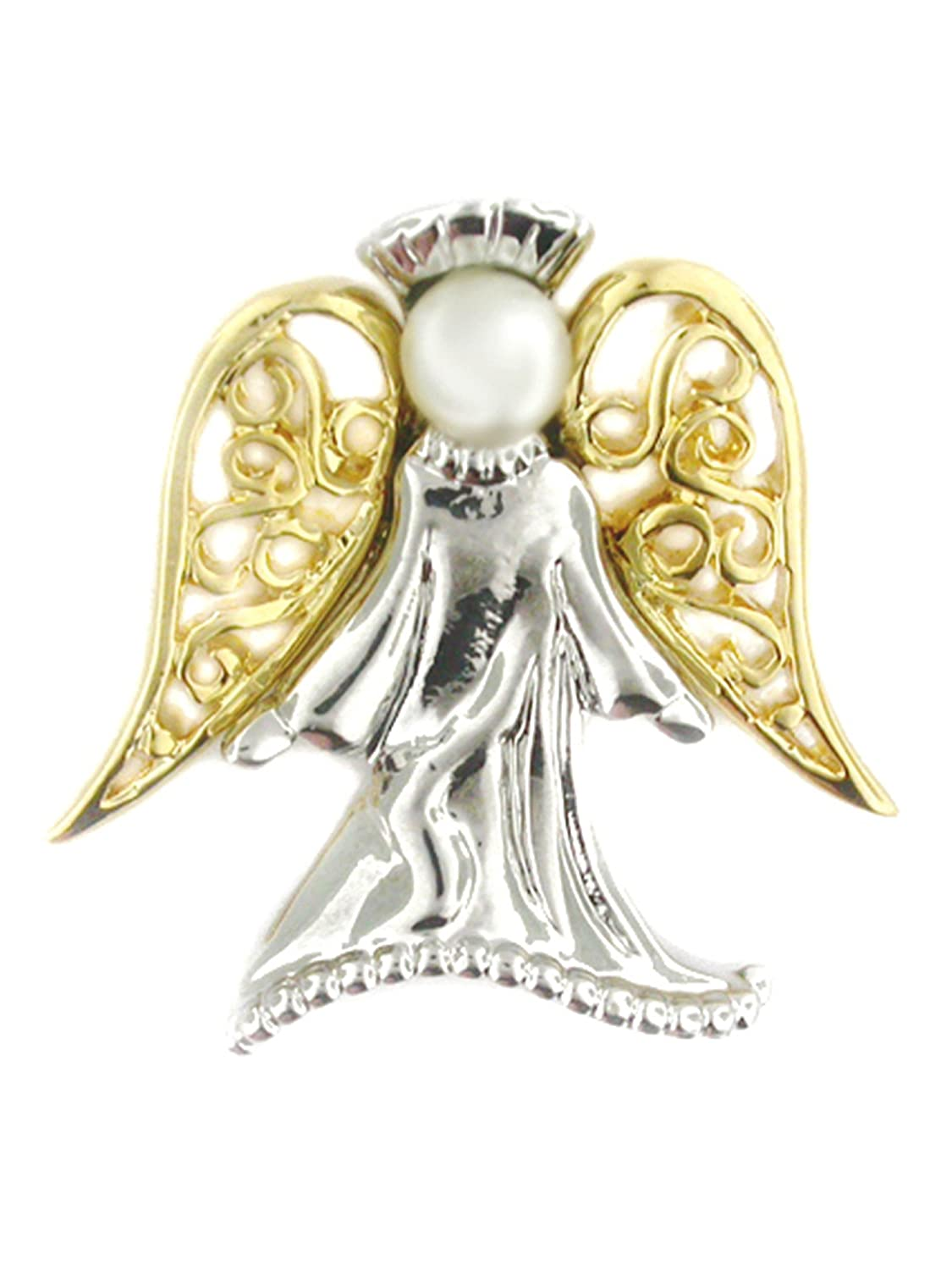 """PinMart's Angel with Pearl Religious Spiritual Jewelry Brooch Style Lapel Pin 1"""" for cheap"""