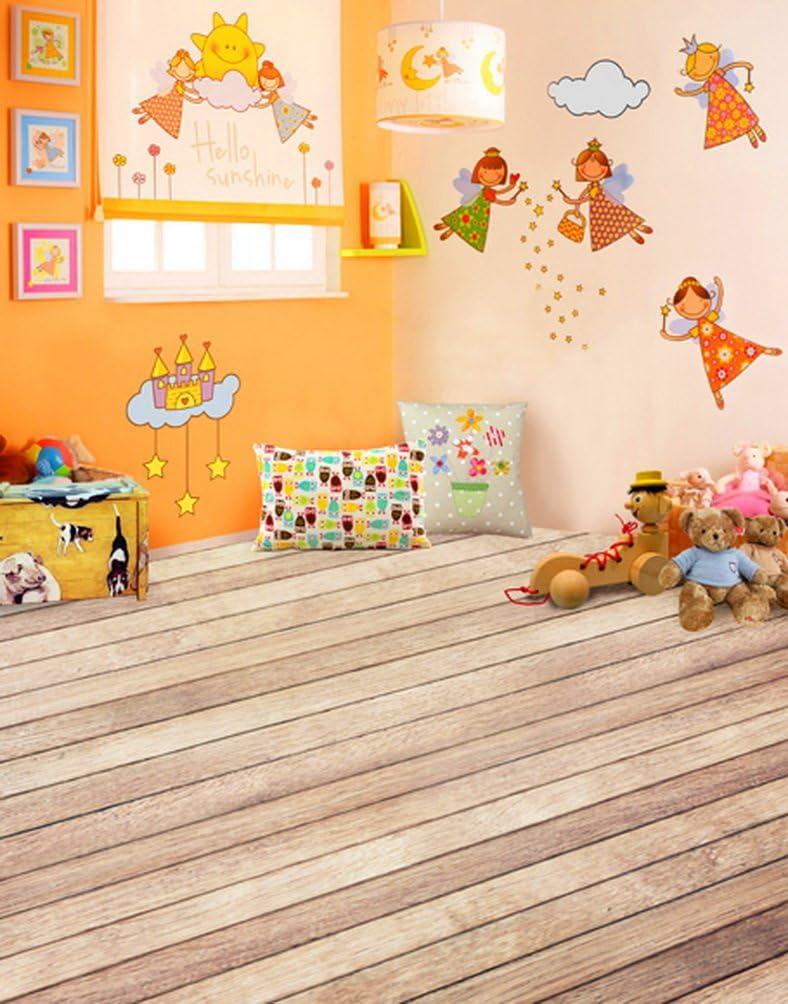 Wooden Floor Cartoon Animal Bear for Children Photography Backdrops Photo Props Studio Background 5x7ft