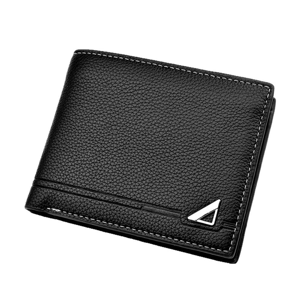 shengyuze Fashion Casual Faux Leather Cash Card Photo Coin Holder Short Wallet for Men RFID Blocking Slim Men Gift