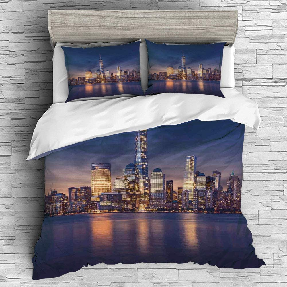 iPrint 4 Pcs Duvet Cover Set Cotton for Bedding Set with Hidden Zipper Closure(Queen Size) Cityscape,New York City Manhattan After Sunset View Picture with Skyline Reflection on River,Navy Gold