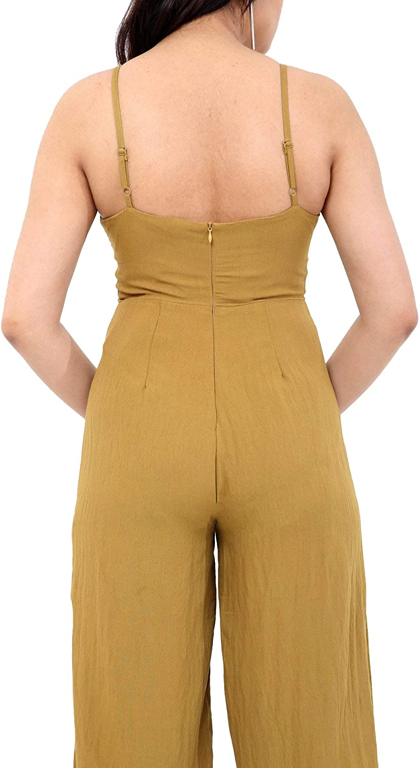 Verso Fashion Womens Retro Dungaree Sleeveless Strappy Jumpssuit Wide Leg Long Playsuit