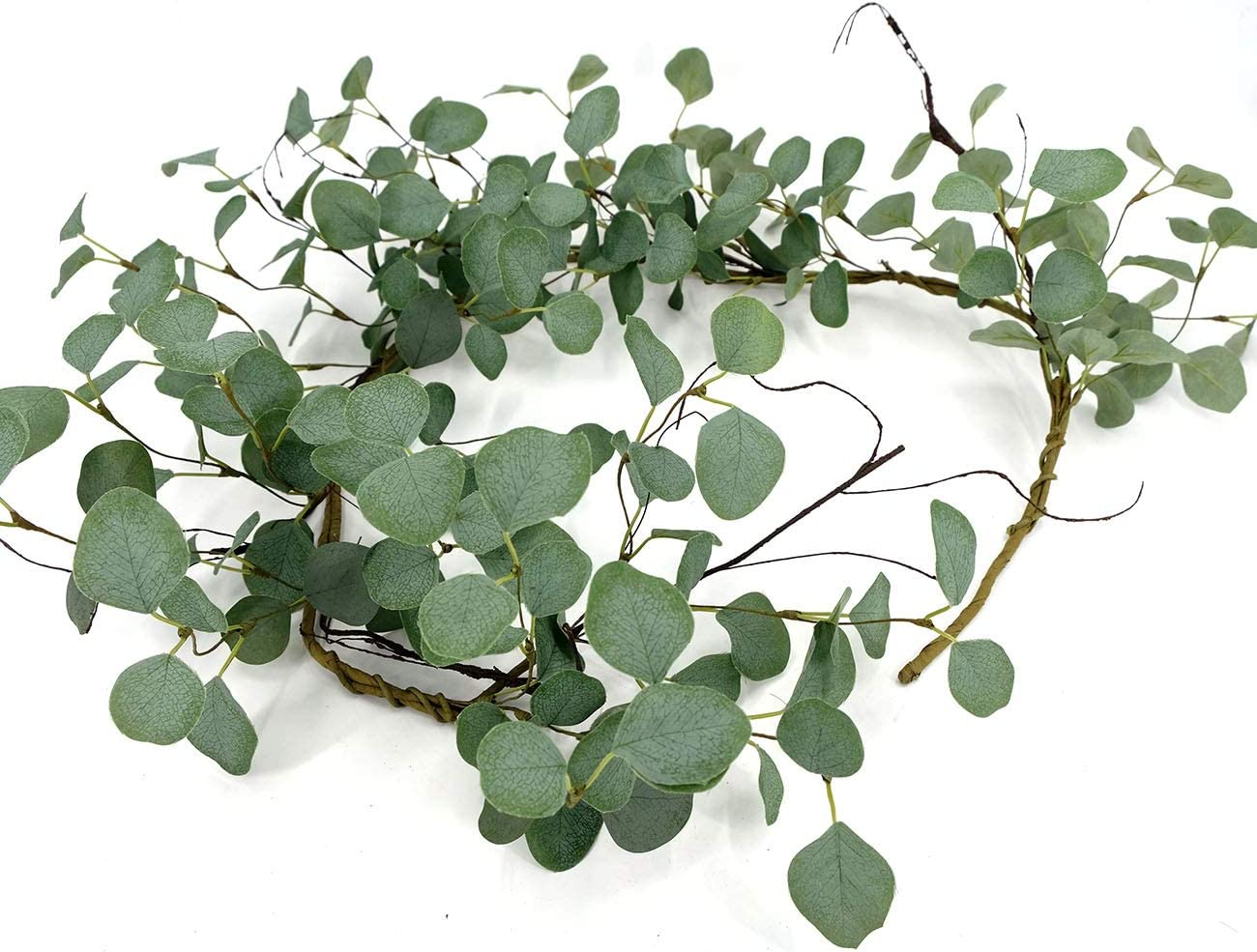 idyllic Eucalyptus Leaves Wreath Metal Polyester Fabric Paper Round Green Wreath with Cotton Boll 5ft for The Front Door Décor