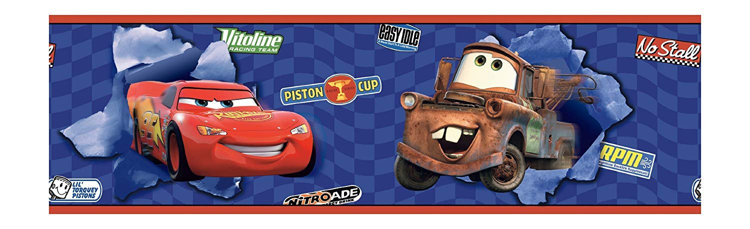 York Wallcoverings Disney Kids DK6116BD Cars Lightning and Mater Border, Blue