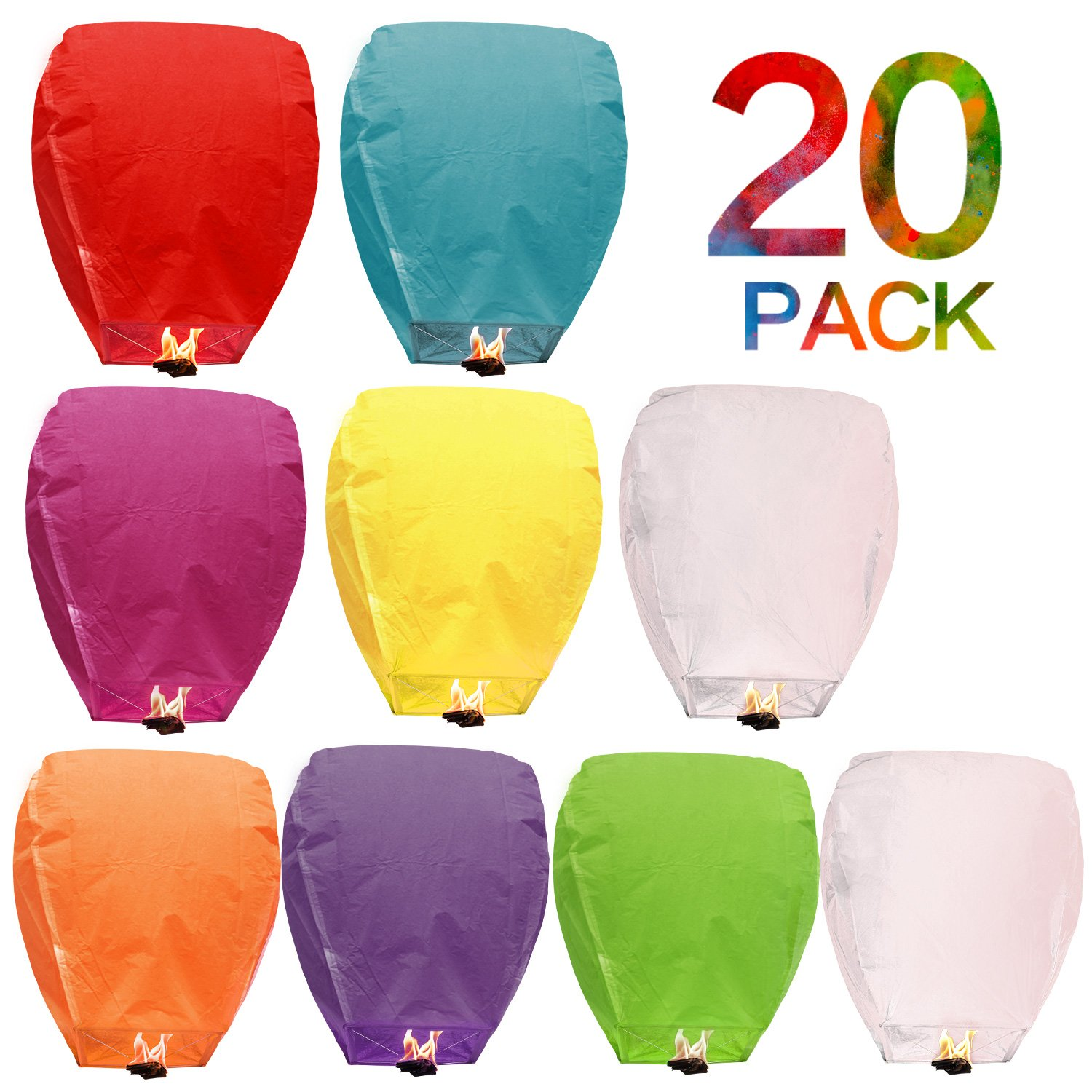 Flying Chinese Sky Lanterns 20 Pack 100% Biodegradable Eco Friendly and Fully Assembled Romantic Night Blue Red and Other Mixed Colors for Party Sea Beach Vacation Holiday by Battife