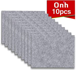 """Furniture Pads - 10 Pack ON'H Self-Stick Felt Furniture Pads with 3M Tapes Hardwood Floors Protectors – 8"""" x 6"""" x 1/5"""" Sheet Cut into Any Shape – Grey"""