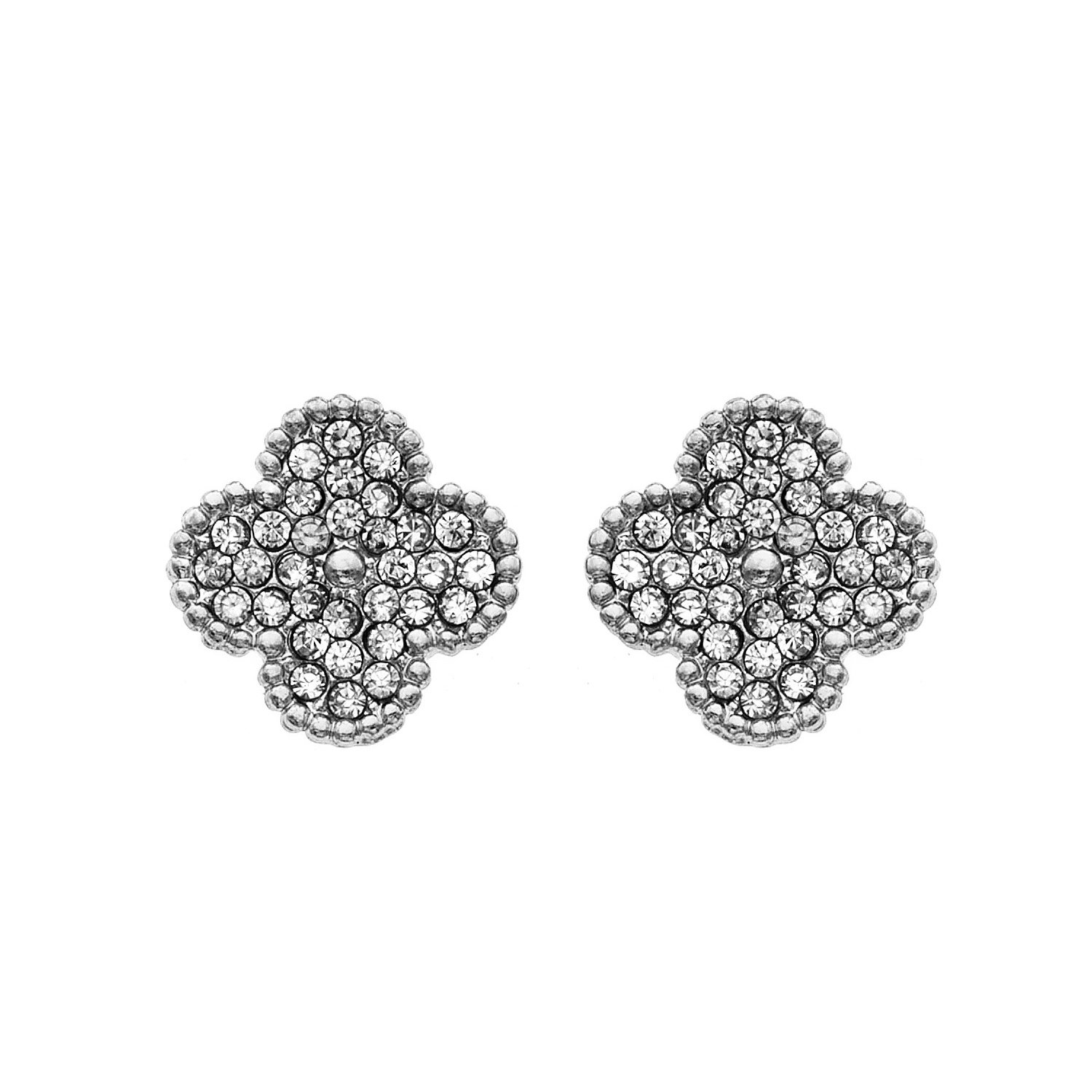 1fab87ad909da 14K Gold, Rose Gold, or Rhodium Plated Clover Stud Earrings with White  Crystals