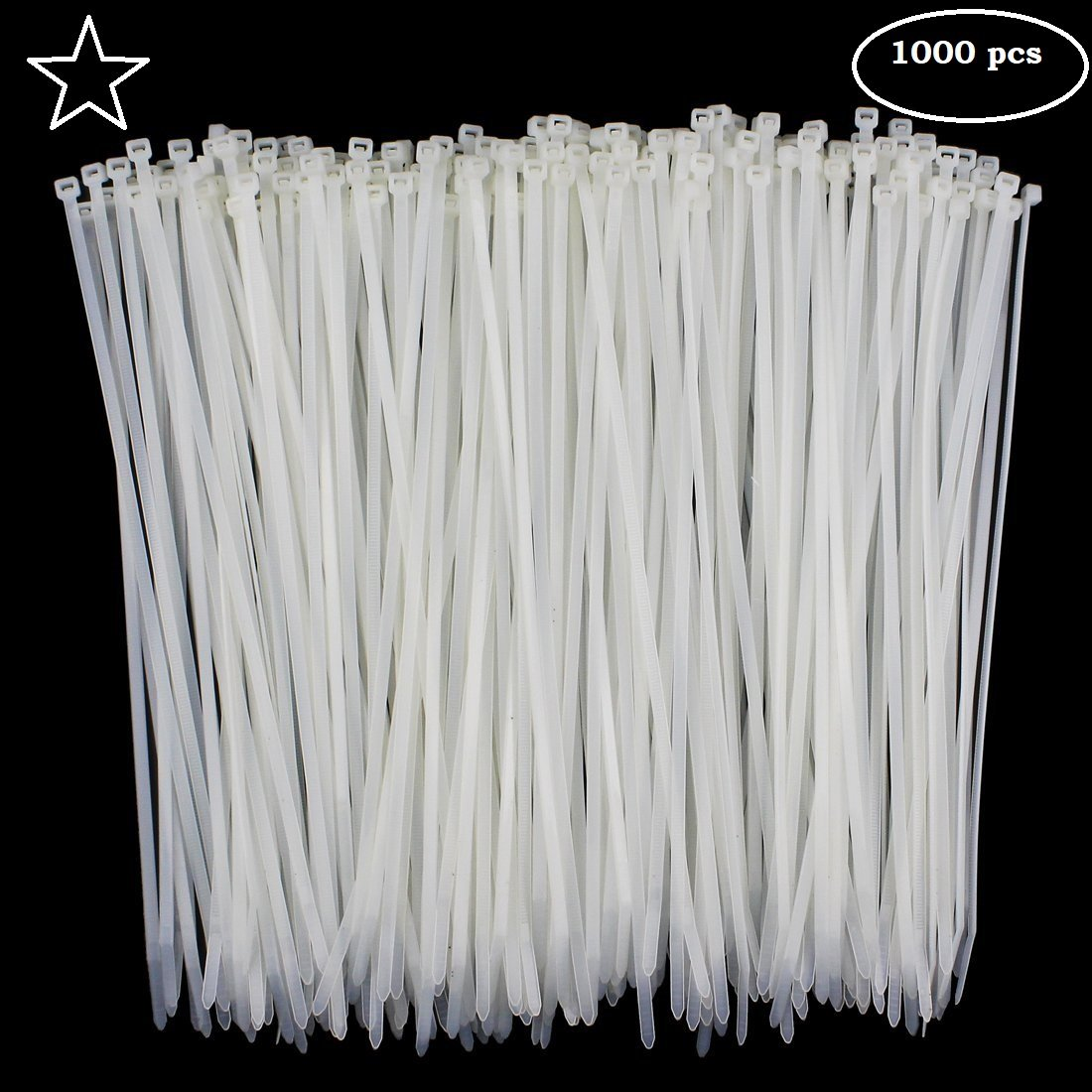 ATC USA - Cable Ties 4 Inch (Pack of 1000) White Nylon Zip Wire Wrap Heavy Duty Self Locking Plastic Cable Management RG6 RG59 CAT5 CAT6 RJ45 Electrical Ethernet Dish TV Speaker Cord Tie Holder Clips