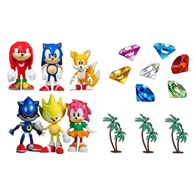 Classic Sonic and Friends 15 Piece Figure Play Set Featuring Sonic Figures, Themed Palm Trees and Sonic Themed Gems: Toys & Games