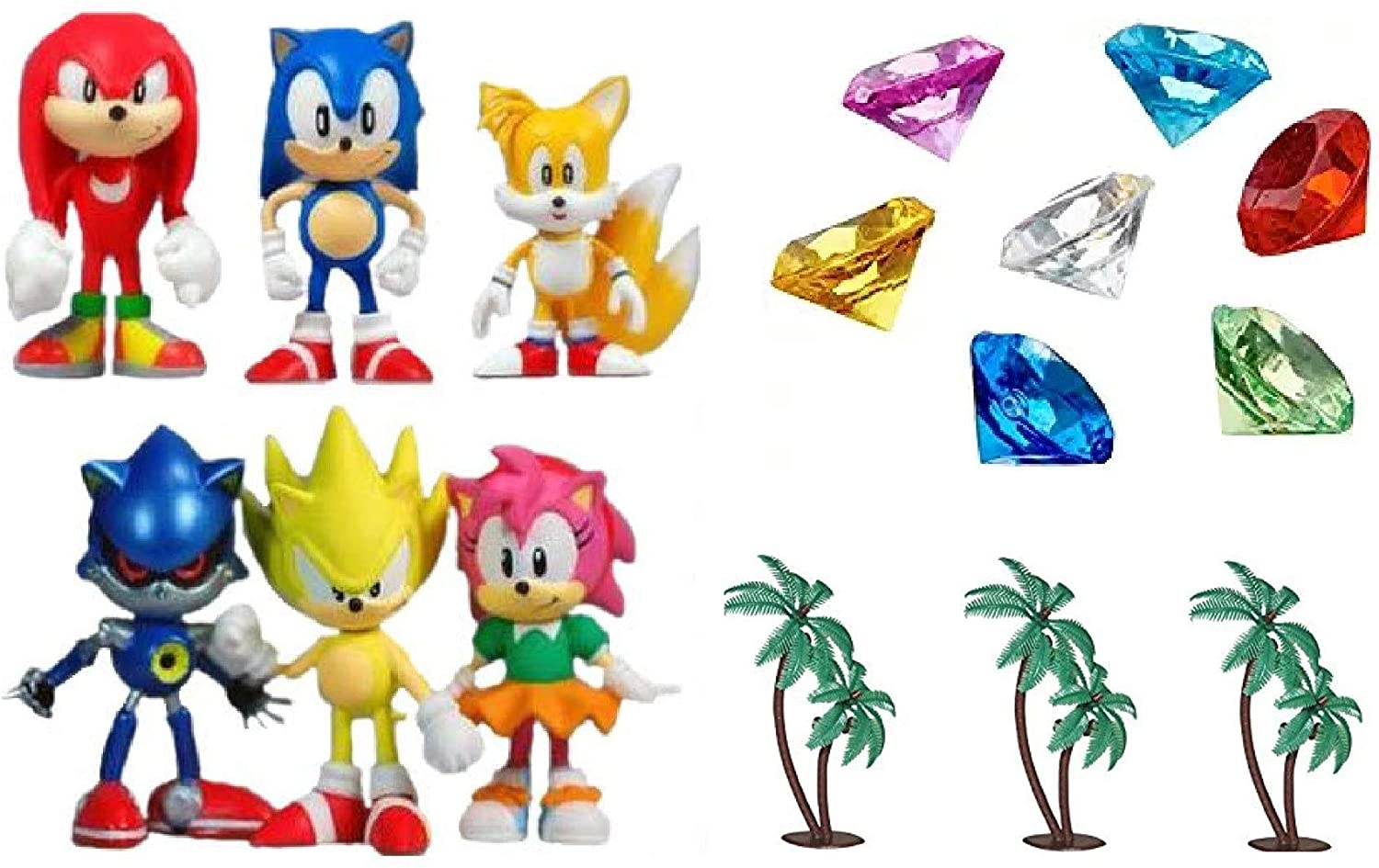 Amazon Com Classic Sonic And Friends 15 Piece Figure Play Set Featuring Sonic Figures Themed Palm Trees And Sonic Themed Gems Toys Games