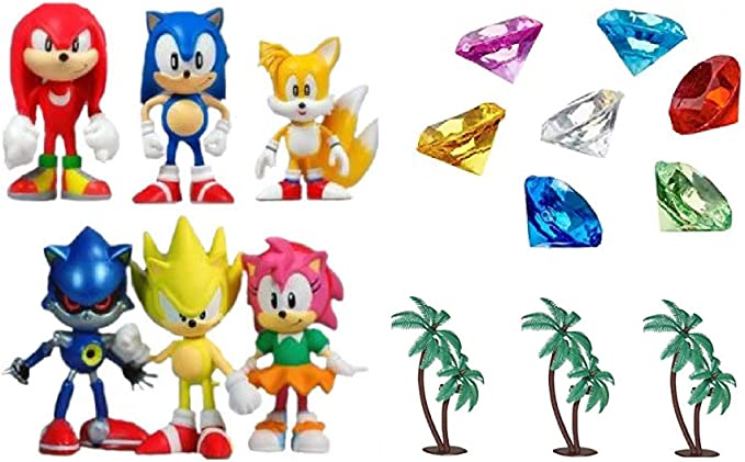 Details about  /SONIC THE HEDGEHOG /& FRIENDS 2 STYLES 6PCS CAKE TOPPER//PLAYSET NEW UK SELLER