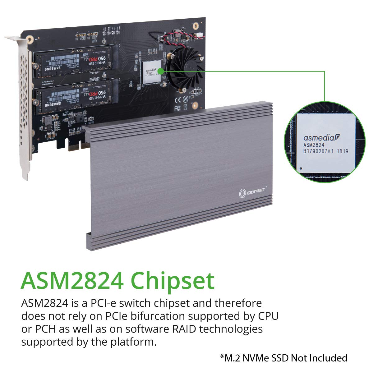 I/O CREST SI-PEX40129 Dual M.2 NVMe Ports to PCIe 3.0 x16 Bifurcation Riser Controller - Support Non-Bifurcation Motherboard by I/O CREST (Image #3)