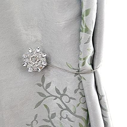 Curtain Tiebacks Clips Magnetic With Silver Crystal Floral Shower Curtains Holdbacks Metal Tie Backs Pack Of 1 By BIPY Amazoncouk Kitchen Home