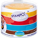 Aladine 85151 Stampo Colors - Lote de 4 tampones para sellos de madera (colores rojo, marrón, amarillo y azul)