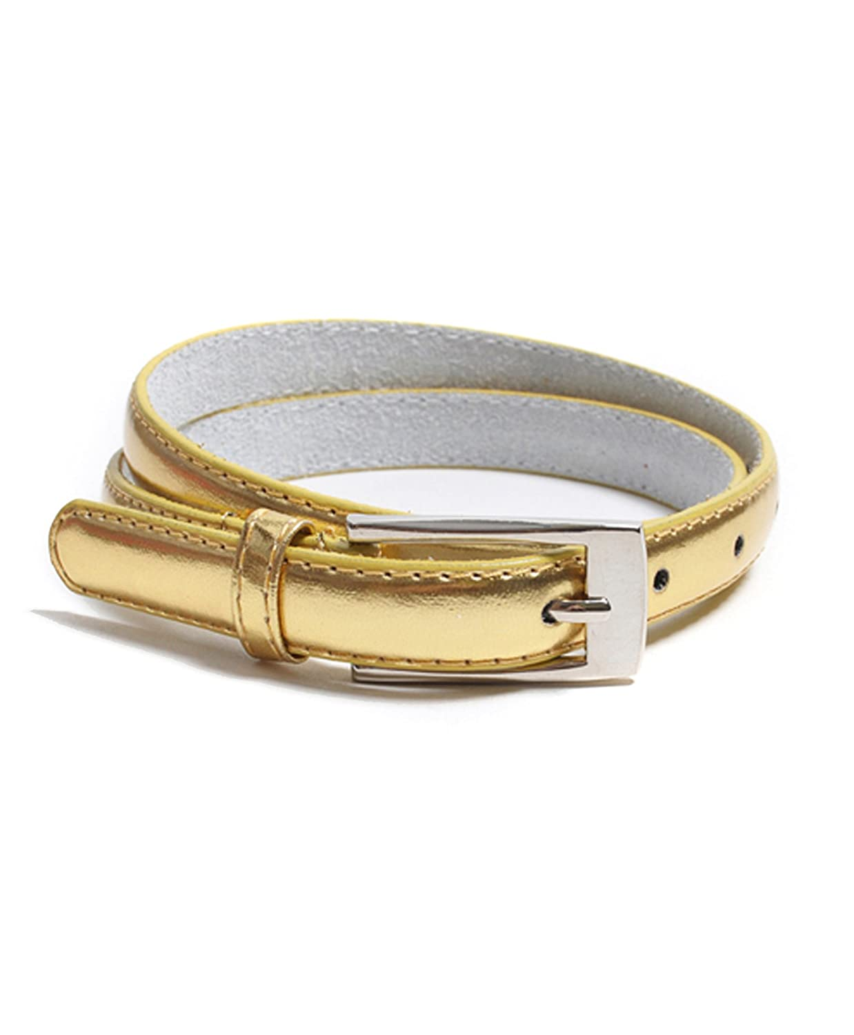 "Solid Color Leather Adjustable Skinny Belt, Large (35""-39""), Gold"