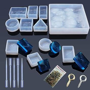 Woohome 10 Forma Molde Silicona Resina Patrón de Agua Molde de Joyería de Silicona para Collar Pendiente Fabricación de Colgante Creativo Bricolaje DIY: ...