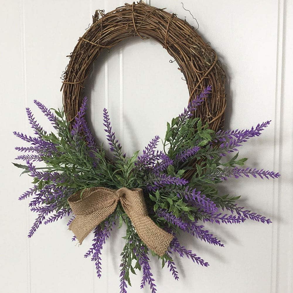 Lavender Artificial Wreath Purple Silk Garland Floriation Hanging Pendant for The Front Door Home Wedding Decoration Photo Props PovKeever Door Wreath