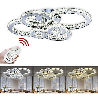 VINGO LED Kronleuchter Modern Deckenleuchte Kristall Deckenlampe Wohnzimmer Einstellbar Hngeleuchte Mit Fernbedienung