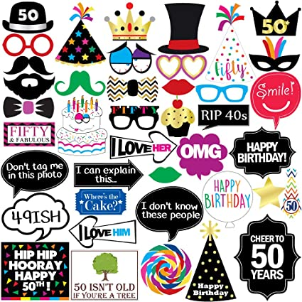 50th Birthday Photo Booth Party Props 40 Pieces Funny 50th Birthday Party Supplies Decorations And Favors