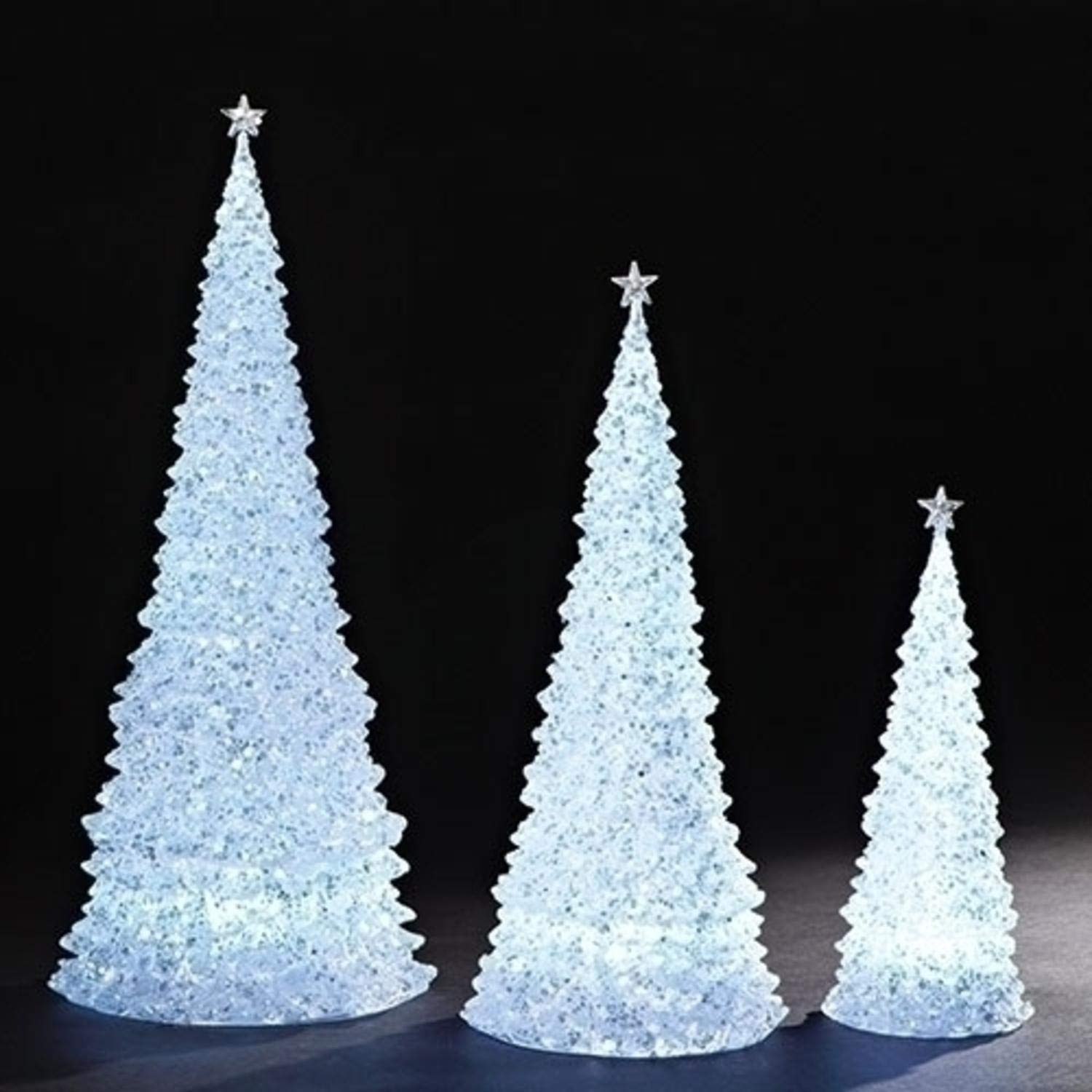 Roman Set of 2 White 6 Piece Christmas Decoration Glittering LED Table Top Trees 20''
