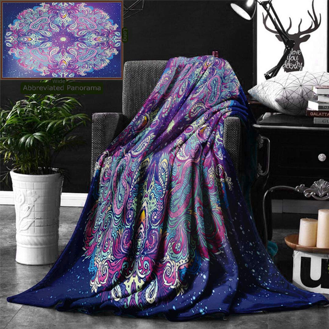 Unique Custom Double Sides Print Flannel Blankets India Spirituality Symbol Yoga Meditation Cosmos Theme Psychedelic Composition Aqua Pi Super Soft Blanketry for Bed Couch, Twin Size 80 x 60 Inches